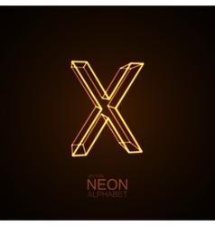 Neon 3D letter X vector image