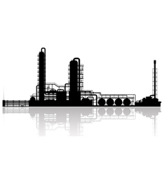 Oil refinery plant silhouette vector