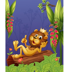 A king lion lying in a trunk vector image