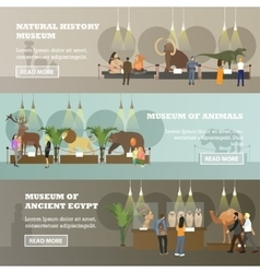 Set of banners with various museum vector