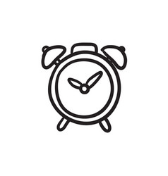 Alarm clock sketch icon vector