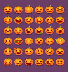 Halloween pumpkin emotions icon set vector