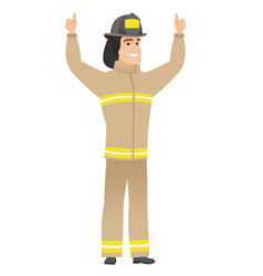 Firefighter standing with raised arms up vector