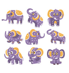 Stylized elephant with polka-dotted pattern series vector