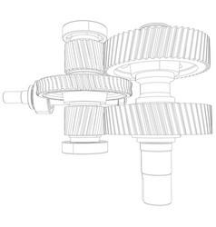Wire-frame gears with shafts close-up vector