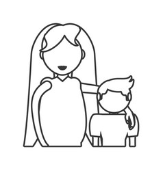 Mom pregnant with son hugging outline vector