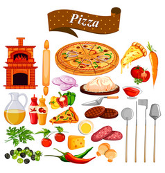 Food and spice ingredient for pizza vector