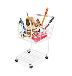 Auto repair tool kits in shopping cart vector