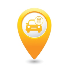 Car wash icon map pointer yellow vector