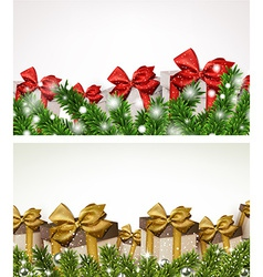 Christmas banners with fir branches gift boxes vector