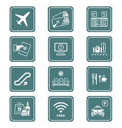 Airport icons | teal series vector