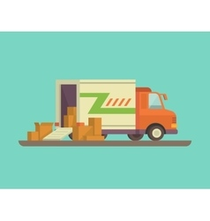 Unloading or loading delivery truck vector