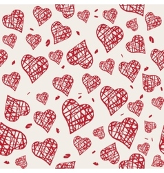 Seamless pattern with hand drawn red hearts vector