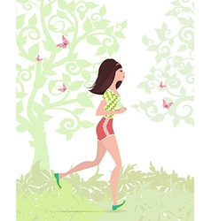 Young woman jogging in the park vector
