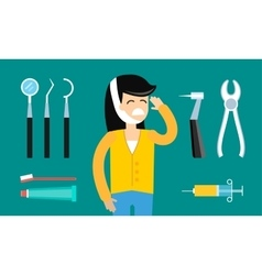 Dentist patient girl with toothache tools vector