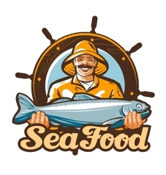 Seafood logo fishing or fresh fish icon vector
