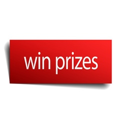 Win prizes red square isolated paper sign on white vector