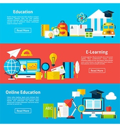 Online education and electronic learning flat vector