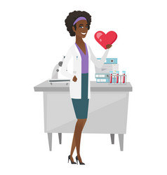 African-american doctor holding a big red heart vector