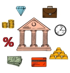 Banking business and finance icons vector image vector image