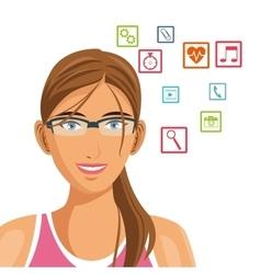 Beautiful woman social media technology vector