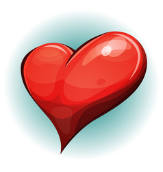 Cartoon big red heart icon vector