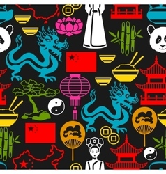 China seamless pattern Chinese symbols and vector image vector image