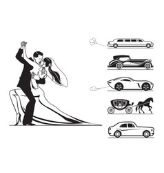 couple of groom and bride with wedding cars vector image vector image
