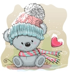 Cute Bear in a knitted cap vector image