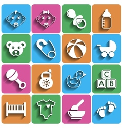 Flat baby icons with shadow vector