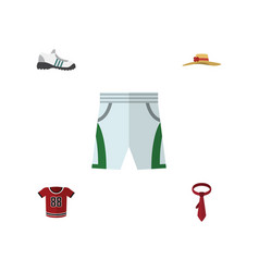 Flat icon clothes set of cravat trunks cloth t vector