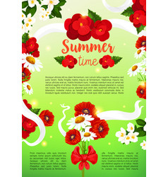 Greeting poster of summer flowers vector