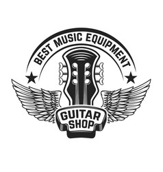 Guitar shop label template guitar head with wings vector
