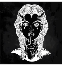Hand drawn artwork of female demon portriat vector