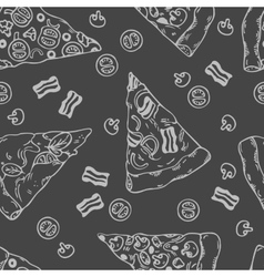 Hand drawn slices of pizza seamless pattern vector