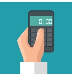 Hand holding calculator money save icon vector