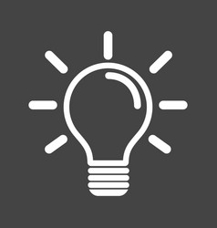 Light bulb icon in grey background idea flat vector