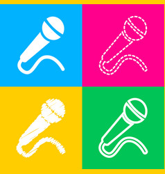 microphone sign four styles of icon vector image vector image