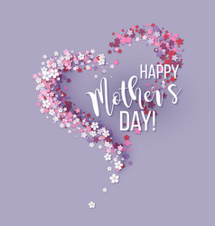 mothers day card with pink flowers heart shaped vector image