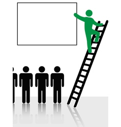 Person climbs a ladder vector