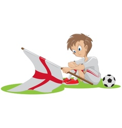 Sad football fan english flag dropped vector