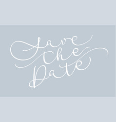 Save the date text on gray background calligraphy vector