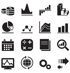 Silhouette diagram and graph icons vector