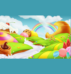 sweet landscape 3d background vector image vector image