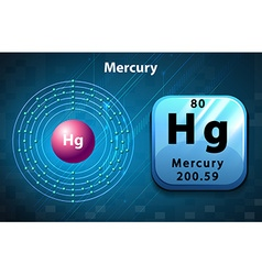 Symbol and electron diagram for mercury vector
