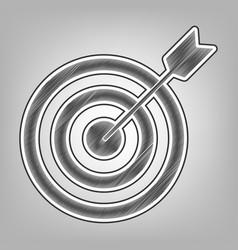 Target with dart pencil sketch imitation vector