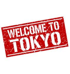 Welcome to tokyo stamp vector