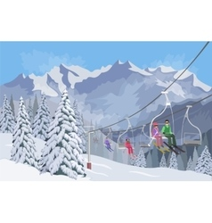 Winter mountain landscape Lifts for skiing vector image