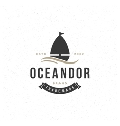 Yacht design element in vintage style for logotype vector