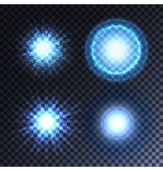 Set of four glowing light effect stars vector